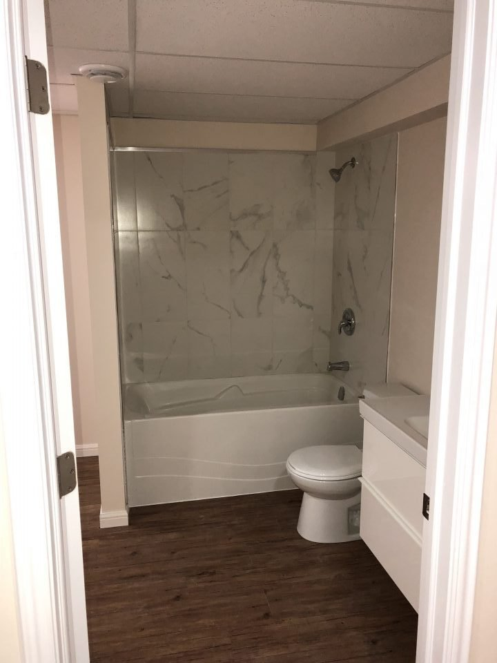 Bathroom installation in new basement