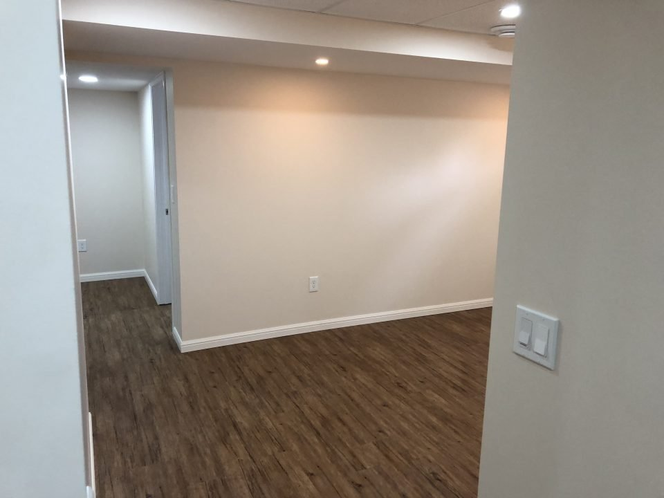 Basement renovation in Winnipeg, vinyl plank flooring installation in Winnipeg